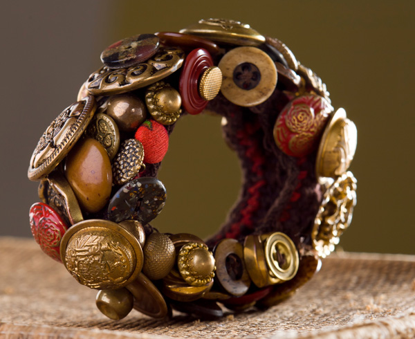 Brass Button Bracelet, mixed media
