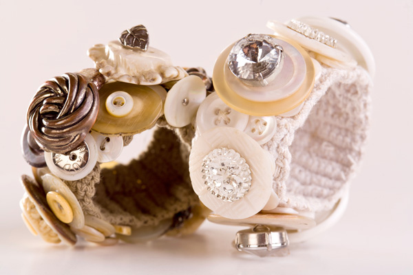 Encrusted Button Bracelet, mixed media