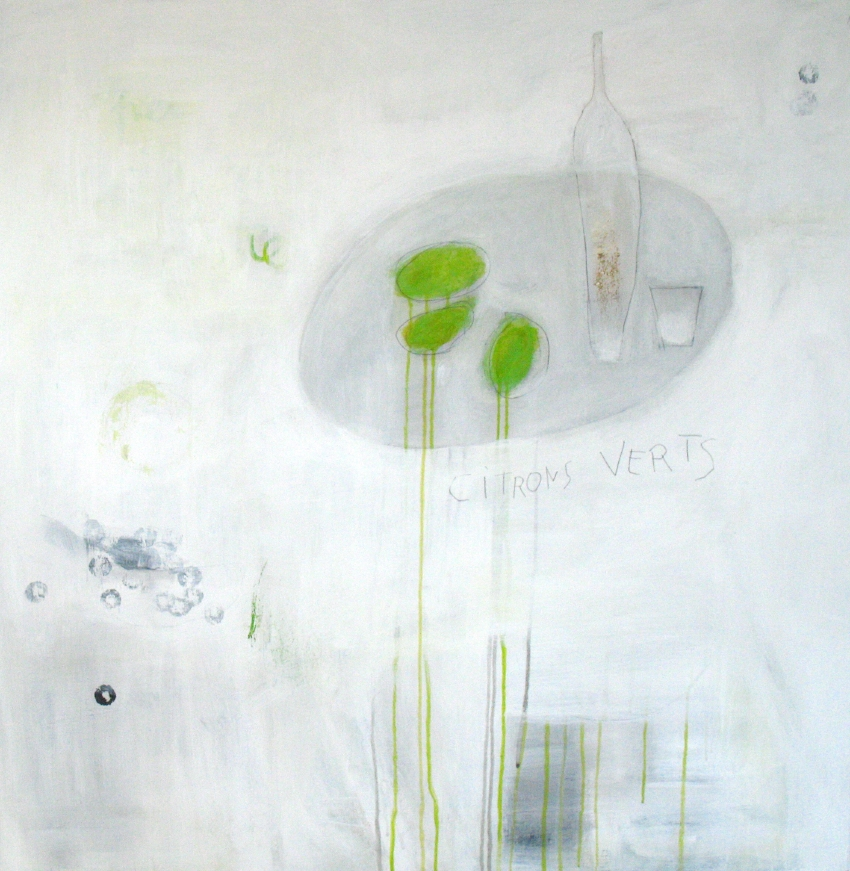 "Citrons Verts (2012) acrylic and graphite on wood 36"" x 36"""